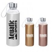 18 Oz. Aqua Pure Glass Bottle with Metallic Sleeve