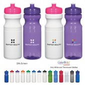 24 Oz. Poly-Clear™ Fitness Bottle-Translucent/White