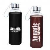 18 Oz. Aqua Pure Glass Bottle with Leatherette Sleeve
